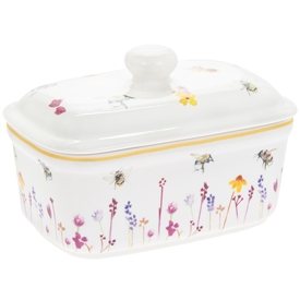 Ceramic Busy Bees Butter Dish