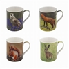 Set of 4 Ceramic Mugs with Assorted Animal Designs