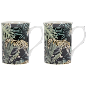 Set of 2 Orange and Green Ceramic Mugs with a Jungle Fever Design
