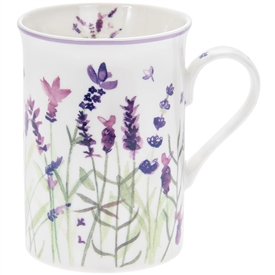 White and Purple Ceramic Mug with Lavender Design