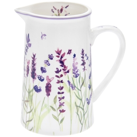 White Ceramic Jug with a Lavender Design