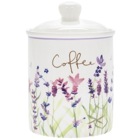 White and Purple 'Coffee' Canister with a Lavender Design