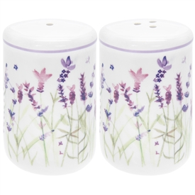 White and Purple Salt and Pepper Shakers with Lavender Design