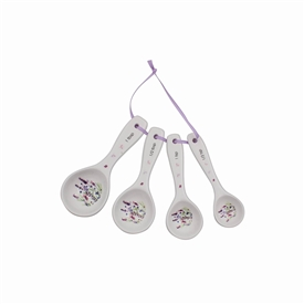 White Measuring Spoons with Lavender Design