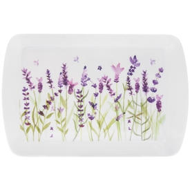 White and Purple Tray with Lavender Design