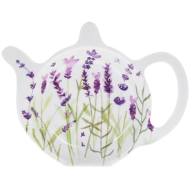 White Teabag Tidy with Lavender Design