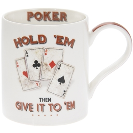 White Ceramic Mug with Cards Design