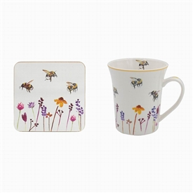Mug and Coaster Set with Busy Bees Design