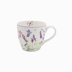 White and Purple Breakfast Mug with Lavender Design