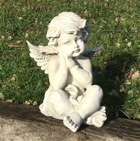 26cm Sitting Cherub Hands on Chin