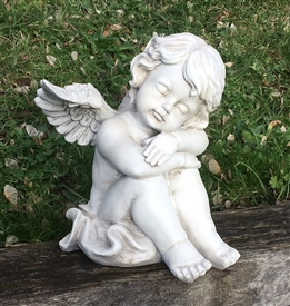 REDUCED 26cm Sitting Cherub Asleep on Arms