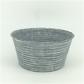 Ribbed Oval Bowl Planter in Zinc 18cm