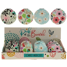 Botanical Floral Compact Mirror 4 Assorted SOLD IN 24's