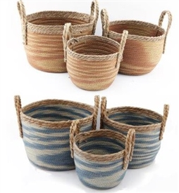 Set Of 3 Round Woven Baskets 2 Assorted
