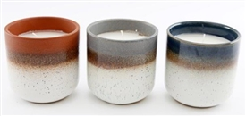 Glazed Candle Pot 3 Assorted 9cm