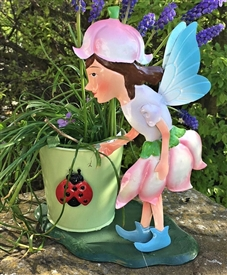 Pink Metal Fairy with Plant Pot - Felicity