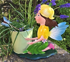 REDUCED, LIMITED TIME ONLY<p>Yellow Metal Fairy with Plant Pot - Fiona