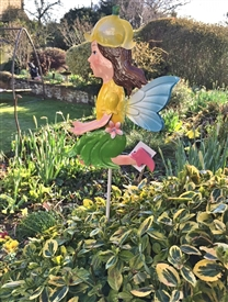 Yellow Metal Fairy Stake Fiona 73cm