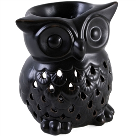 Ceramic Black Owl Oil Burner 12cm