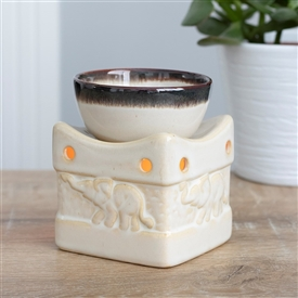 Two Tone Elephant Oil Burner With Bowl 11cm