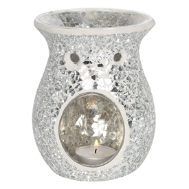 Large Round Silver Crackle Oil Burner 14cm