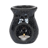 Round Black Crackle Oil Burner 11cm