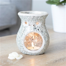 Round Silver Crackle Oil Burner 11cm