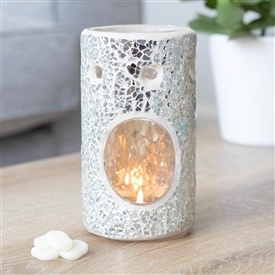 Silver Crackle Pillar Oil Burner 14cm