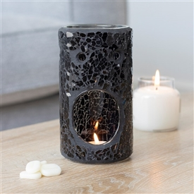 Black Crackle Pillar Oil Burner 14cm
