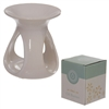 Due July-White Teardrop Ceramic Wax Melter / Oil Burner
