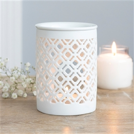 White Lattice Oil Burner 11cm