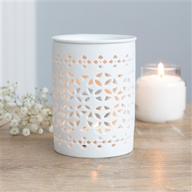 White Matte Cut Out Oil Burner 11cm