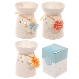 Speckled Oil Burner With Flower 11cm