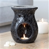 Large Round Black Crackle Oil Burner 14cm