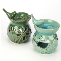 Floral Bird Bath Oil Burner 2 Assorted