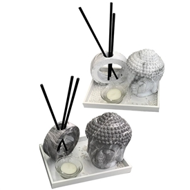 Marble Effect Buddha Diffuser And Tealight Set 2 Assorted