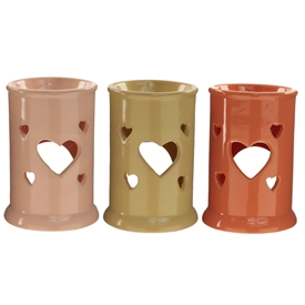 Tall Heart Cut Out Ceramic Oil Burner 3 Assorted 12cm