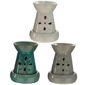 Flower Cut Out Oil Burner 3 Assorted 12cm