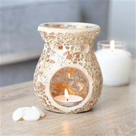 Round Gold Crackle Oil Burner / Wax Melter 11cm