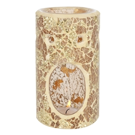 Gold Pillar Crackle Oil Burner / Wax Melter 14cm
