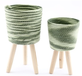 Set OF 2 Woven Planters With Legs
