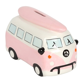 Pink Campervan Money Bank 16cm