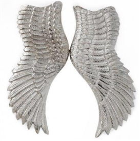 Large Pair Of Silver Angel Wings 52cm