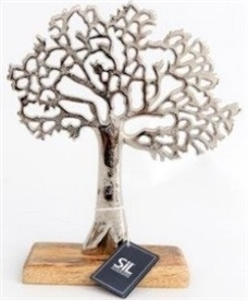 Aluminium Tree On Wood Base 26cm
