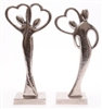 Couple' Silhouetted Silver Heart Ornament 2 Assorted 27cm
