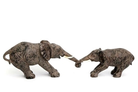 Double Elephants Holding Trunks Ornament