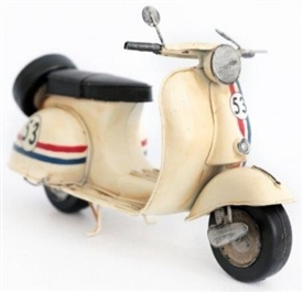 Cream Scooter Tin Ornament 28cm