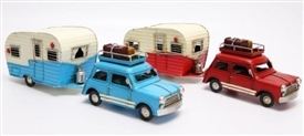 Retro Mini And Camper Tin Ornament 2 Assorted Colours 32cm
