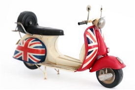 Retro Union Jack Scooter Tin Ornament 30cm