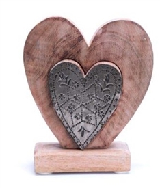 Wood And Metal Heart 14cm